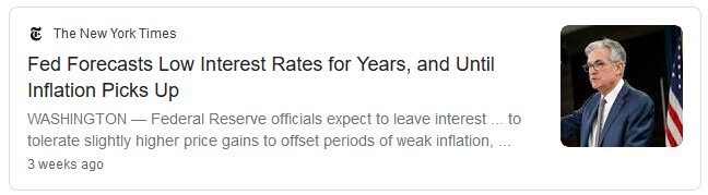 News headline from The New York Times in 2020 that says the Federal Reserve plans to keep interest rates low for years
